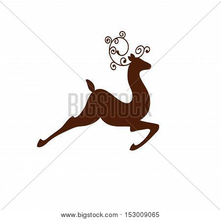 galloping rain deer vector illustration silhouette with swirl horns