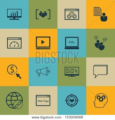 Set Of Marketing Icons On Connectivity, Report And Newsletter Topics. Editable Vector Illustration.