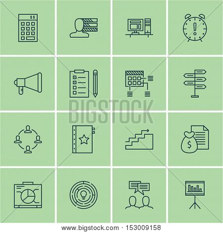 Set Of Project Management Icons On Presentation, Time Management And Personal Skills Topics. Editabl