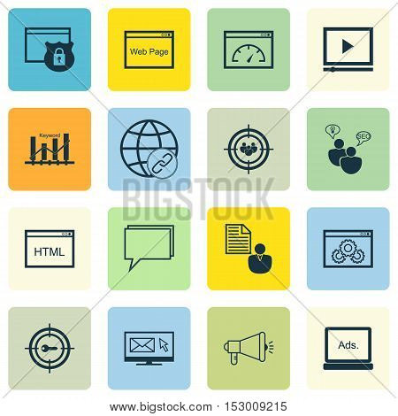Set Of Seo Icons On Report, Loading Speed And Conference Topics. Editable Vector Illustration. Inclu