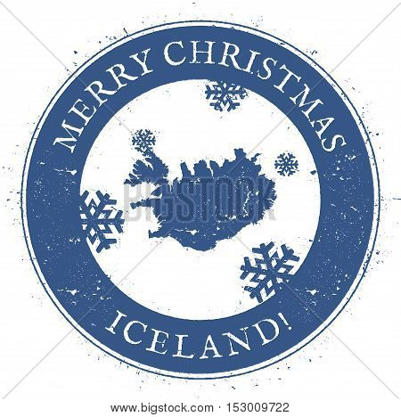 Iceland Map. Vintage Merry Christmas Iceland Stamp. Stylised Rubber Stamp With County Map And Merry