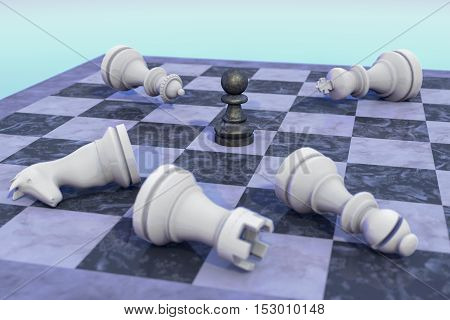 The black pawn for black wins (3d rendering)