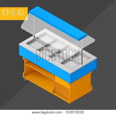 counter cart eps10 vector illustration. empty showcase