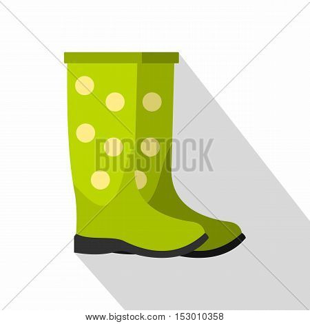 Green rubber boots icon. Flat illustration of green rubber boots vector icon for web