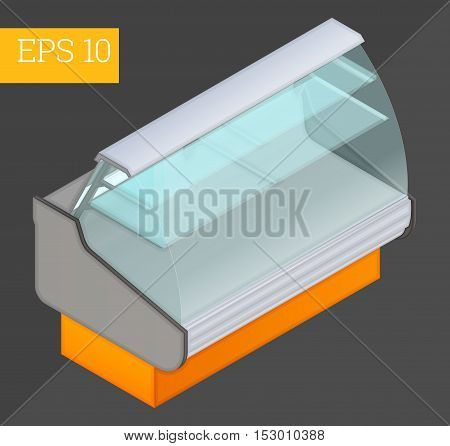 cooler counter eps10 vector 3d illustration. empty refrigerator showcase
