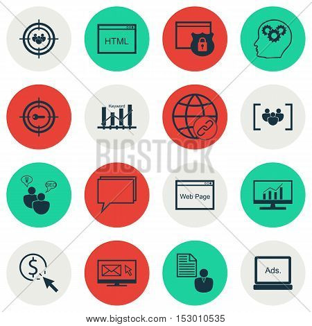 Set Of Marketing Icons On Brain Process, Keyword Optimisation And Newsletter Topics. Editable Vector