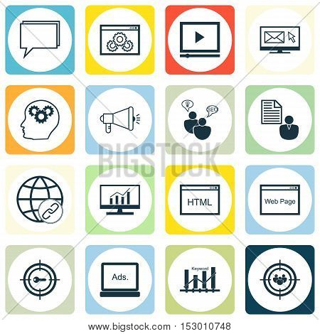 Set Of Seo Icons On Conference, Media Campaign And Coding Topics. Editable Vector Illustration. Incl
