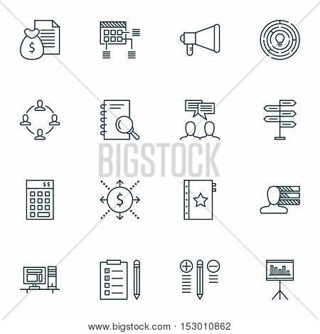 Set Of Project Management Icons On Presentation, Money And Analysis Topics. Editable Vector Illustra