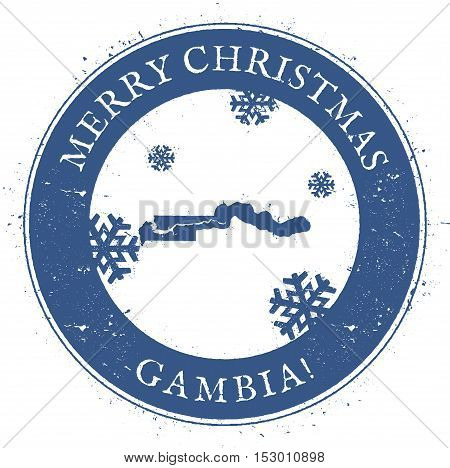 Gambia Map. Vintage Merry Christmas Gambia Stamp. Stylised Rubber Stamp With County Map And Merry Ch