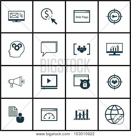 Set Of Advertising Icons On Ppc, Report And Newsletter Topics. Editable Vector Illustration. Include
