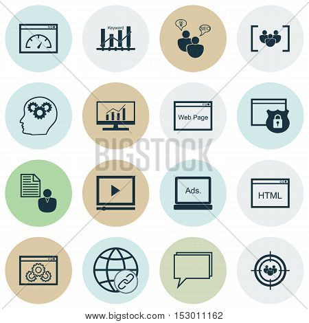 Set Of Marketing Icons On Market Research, Questionnaire And Loading Speed Topics. Editable Vector I