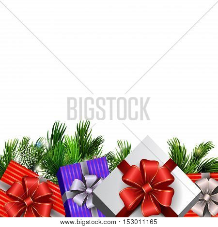 Holiday Christmas background with gift boxes and christmas tree brunches isolated on white background. Vector.