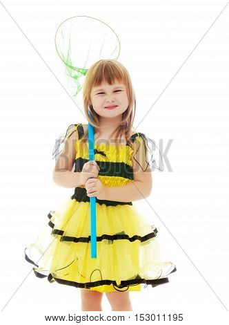 Cute little girl in a yellow bee costume, holding a net for catching butterflies.Isolated on white background.