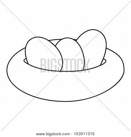 Bird nest and eggs icon. Outline illustration of nest and eggs vector icon for web