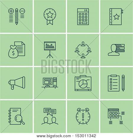 Set Of Project Management Icons On Schedule, Time Management And Reminder Topics. Editable Vector Il