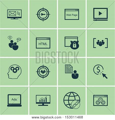 Set Of Advertising Icons On Keyword Marketing, Ppc And Seo Brainstorm Topics. Editable Vector Illust