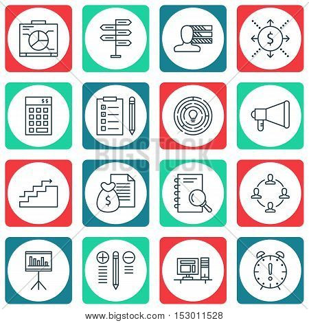 Set Of Project Management Icons On Board, Collaboration And Decision Making Topics. Editable Vector