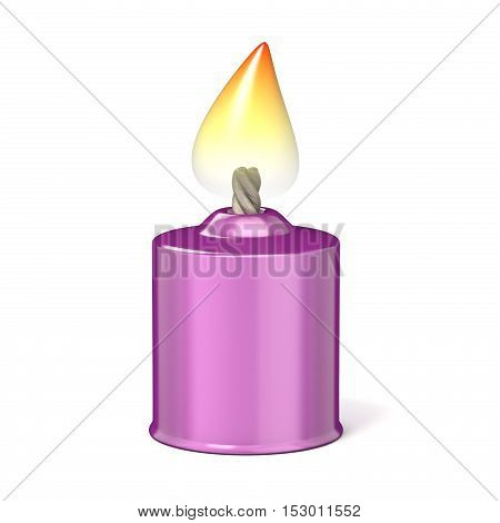 Purple candle. 3D render illustration isolated on white background
