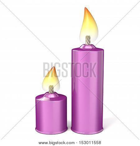 Pink candles. 3D render illustration isolated on white background
