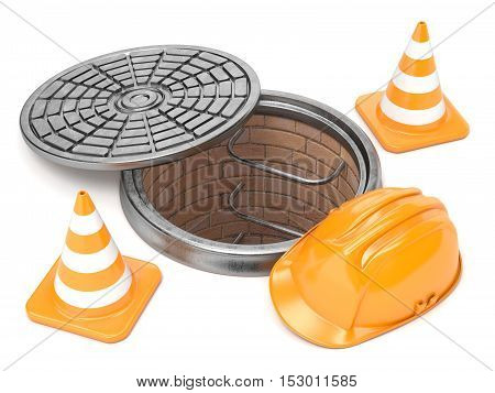 Manhole traffic cones and safety helmet. 3D render illustration isolated on white background