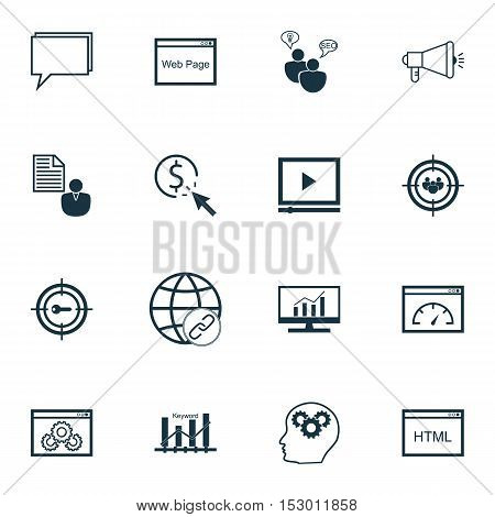 Set Of Marketing Icons On Focus Group, Market Research And Brain Process Topics. Editable Vector Ill