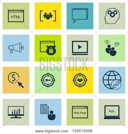 Set Of Marketing Icons On Website, Conference And Video Player Topics. Editable Vector Illustration.