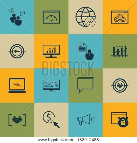 Set Of Seo Icons On Website Performance, Media Campaign And Digital Media Topics. Editable Vector Il