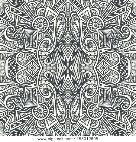 Abstract Seamless pattern  in  Zen tangle or Zen doodle style  in black white for relax coloring page or adult coloring books or  for wallpaper or  for packed something or for clothes