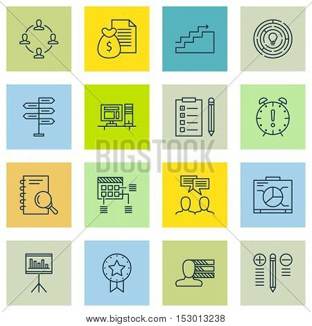 Set Of Project Management Icons On Present Badge, Board And Presentation Topics. Editable Vector Ill