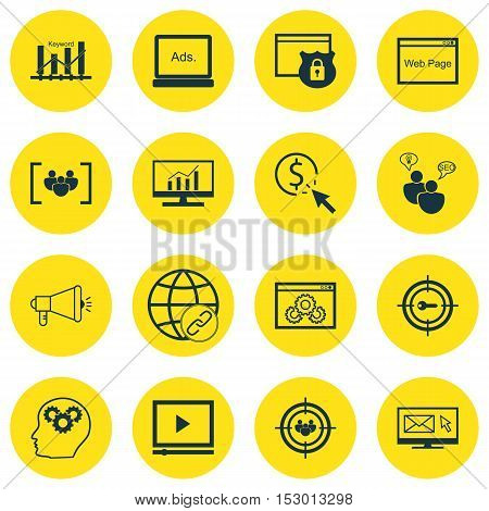 Set Of Marketing Icons On Security, Keyword Optimisation And Video Player Topics. Editable Vector Il