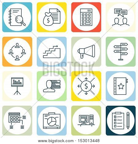 Set Of Project Management Icons On Money, Computer And Growth Topics. Editable Vector Illustration.