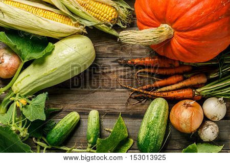 Vegetables on rustic wood background