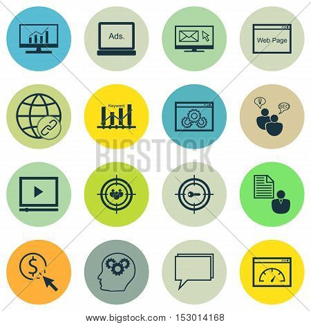 Set Of Advertising Icons On Website, Digital Media And Report Topics. Editable Vector Illustration.