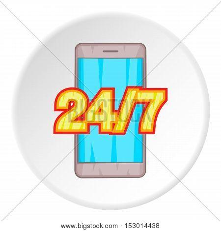 Twenty four and seven icon. Flat illustration of twenty four and sevenvector icon for web