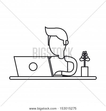 Operator man with laptop icon. Call center technical service and online support theme. Isolated design. Vector illustration