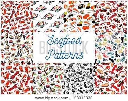 Seafood cuisine seamless patterns. Vector pattern of sushi, lobster, shrimp and crab, salmon steak and caviar, mussel, soy sauce, nori, miso soup, chopsticks. Asian oriental kitchen decoration