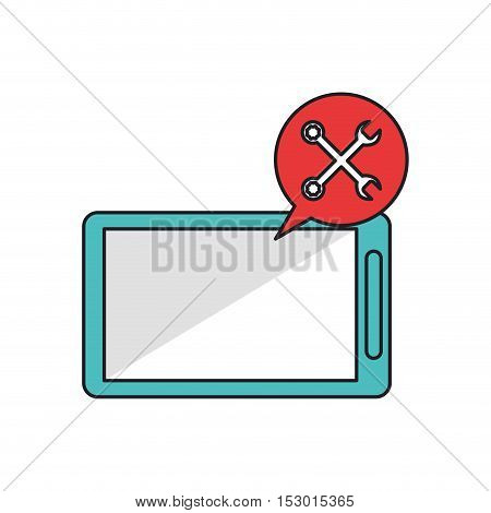 Smartphone bubble and wrench icon. Call center technical service and online support theme. Isolated design. Vector illustration
