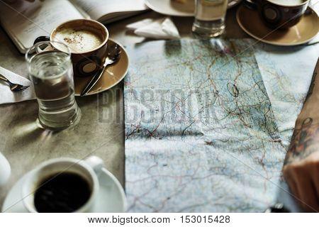 Person Choosing Destination On Map Concept