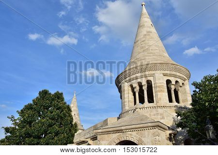 Characteristic conic towers of Fisherman's Bastion in Budapest a panoramic terrace built in romanesque style at the end of 19th century