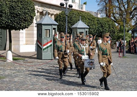 BUDAPEST HUNGARY - SEPTEMBER 29 2016: Changing of the Guard ceremony in front of the presidential palace in Budapest