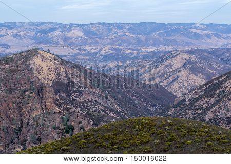 San Benito Wilderness from Chalone Peak Trail, Pinnacles National park, California, USA.