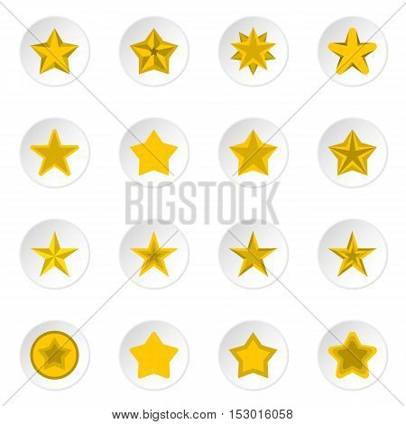 Star icons set. Flat illustration of 16 star vector icons for web