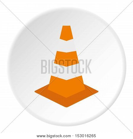 Road sign cone icon. Flat illustration of road sign cone vector icon for web