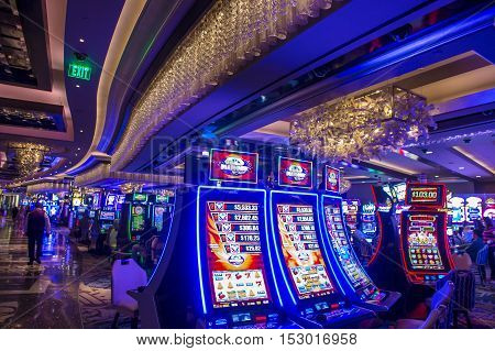 LAS VEGAS - OCT 05 : The Interior of Cosmopolitan hotel and casino on October 05 2016 in Las Vegas. The Cosmopolitan opened in 2010 and it has 2995 rooms and 75000 sq ft casino.