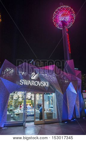 LAS VEGAS - OCT 05 : The Swarovski shop in Las Vegas Strip on October 05 2016. Swarovski is an Austrian producer of luxury cut crystal founded at 1895.