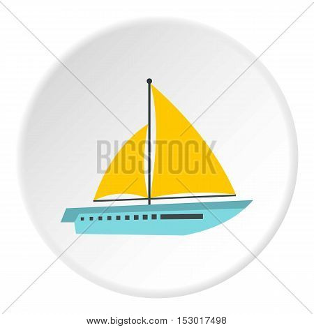 Sailing yacht icon. Flat illustration of sailing yacht vector icon for web