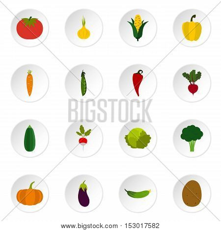 Vegetable icons set. Flat illustration of 16 vegetable vector icons for web