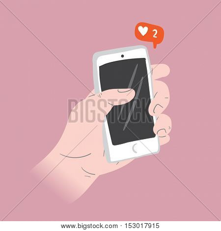 Liking Social Media Illustration