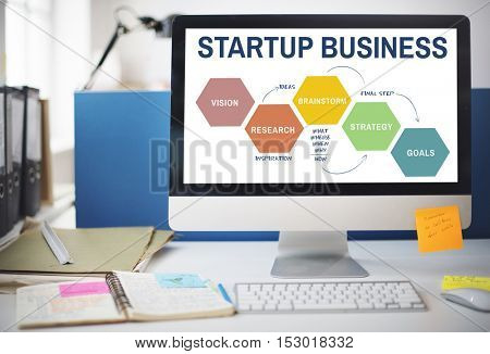 Startup Business Strategy Research Concept