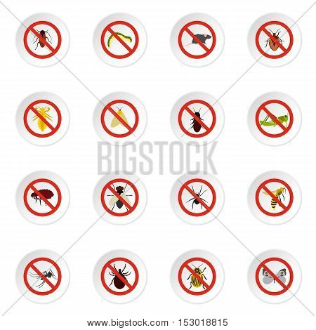 No insect sign icons set. Flat illustration of 16 no insect sign vector icons for web